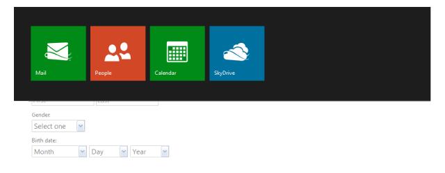 ...herfra får man enkel tilgang til e-post, sosiale tjenester, kalender og nettsky-løsningen SkyDrive.