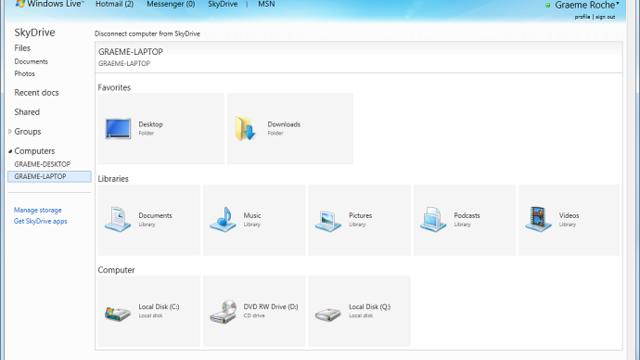 SkyDrive har full oversikt over alle lagringspunkter og enheter, mye på samme måte som Windows Utforskeren.