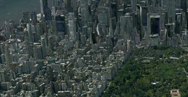Dette er en illustrasjon som viser hvordan 3D-effekten arter seg i et kart over Manhattan. Bildet bruker elementer fra de virkelige bildene BMG har mottatt.