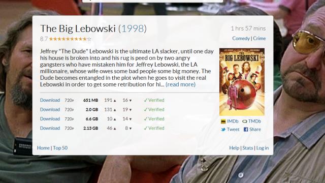 Movies.io gjør det veldig enkelt for piratene å velge riktig format.