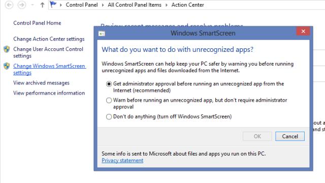 I tillegg til UAC er det bakt inn noe som heter Windows SmartScreen. SmartScreen varsler deg når du prøver å installere programvare fra nettet. Du kan velge å bli varslet at det krever administrator-tilgang å installere, eller kun bli varslet uten krav om