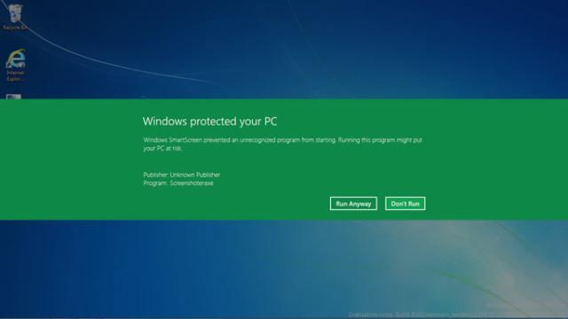Om appen ikke er godkjent av Microsoft får du denne advarselen om SmartScreen er aktivert.