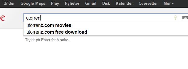 Ikke engang den populære programvaren utorrent autofullføres lenger.