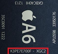 Den nye A6-brikken debuterte i iPhone 5 onsdag forrige uke. «K3PE7E700F-XGC2» er det komplette brikkenavnet.