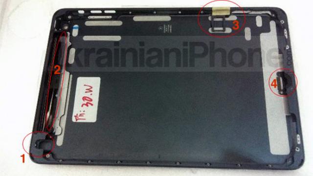 1. Mini jack 2. Feste for WiFi-antennen . 3. Nano-SIM (for 3G) 4. Lightning-tilkoblingen