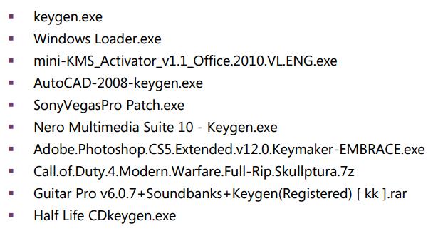 Eksempel på piratvare med virus. Skjermbildet hentet fra Microsofts rapport.