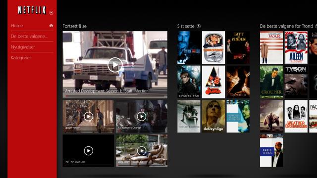 Netflix' «Metro»-app til Windows 8.