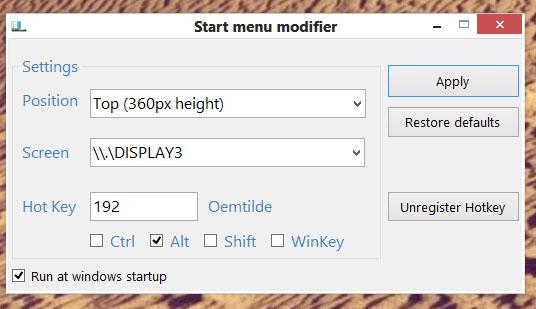Du velger selv om Modern UI skal ta opp 360px på topp eller i bunn av skjermen.