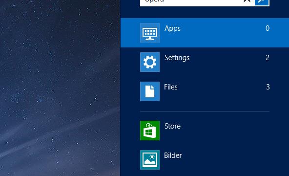 Smart: Modern UI-søkeresultatene ne vises på skrivebordet.