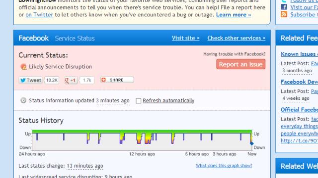 downrightnow.com melder også om tekniske problemer.