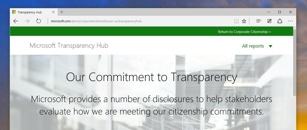 Microsoft Transparency Hub.
