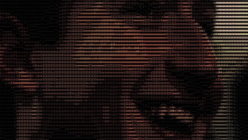 Ved å legge til .html bak en bildeadresse blir Zuckerbergs ansikt omgjort til ASCIIformat.