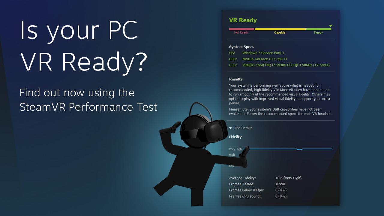 SteamVR Performance Test gjør det enkelt å undersøke om PC-en din er VR-klar, men du må laste ned 1,9GB.