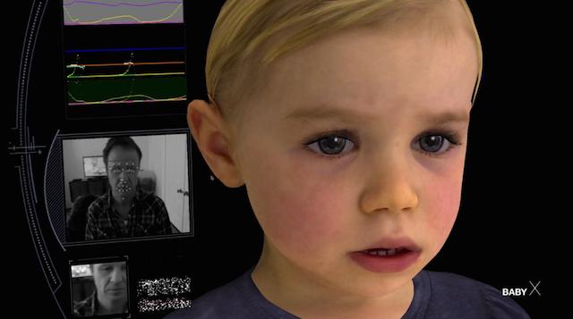 Dette er Baby X, en nær naturtro kunstig intelligens.