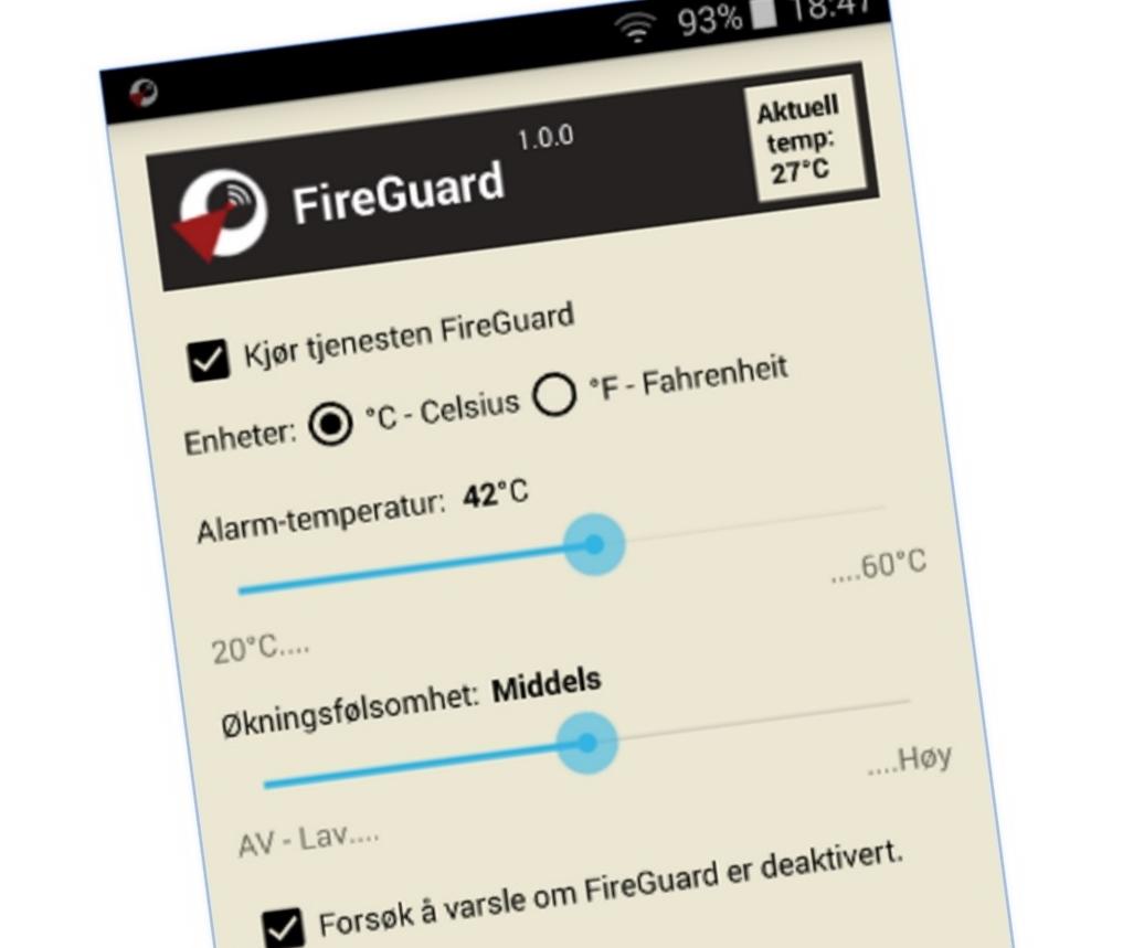 FireGuard overvåker Android-mobiler sin temperatur for deg.