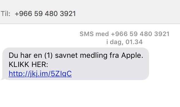 Ikke klikk på linken i denne SMSen om du får den.