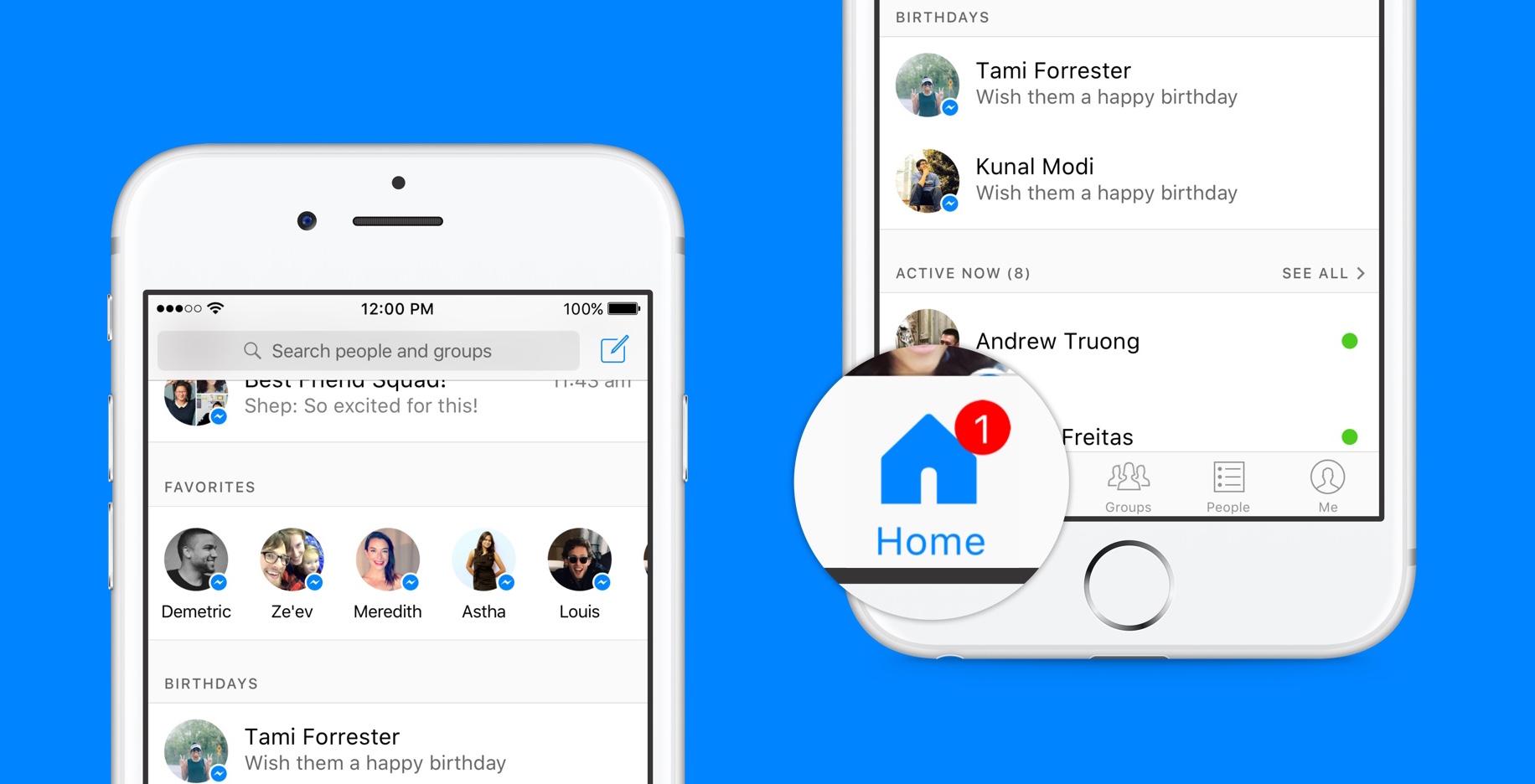 Facebook oppdaterer hjemskjerm i Messenger-appen.
