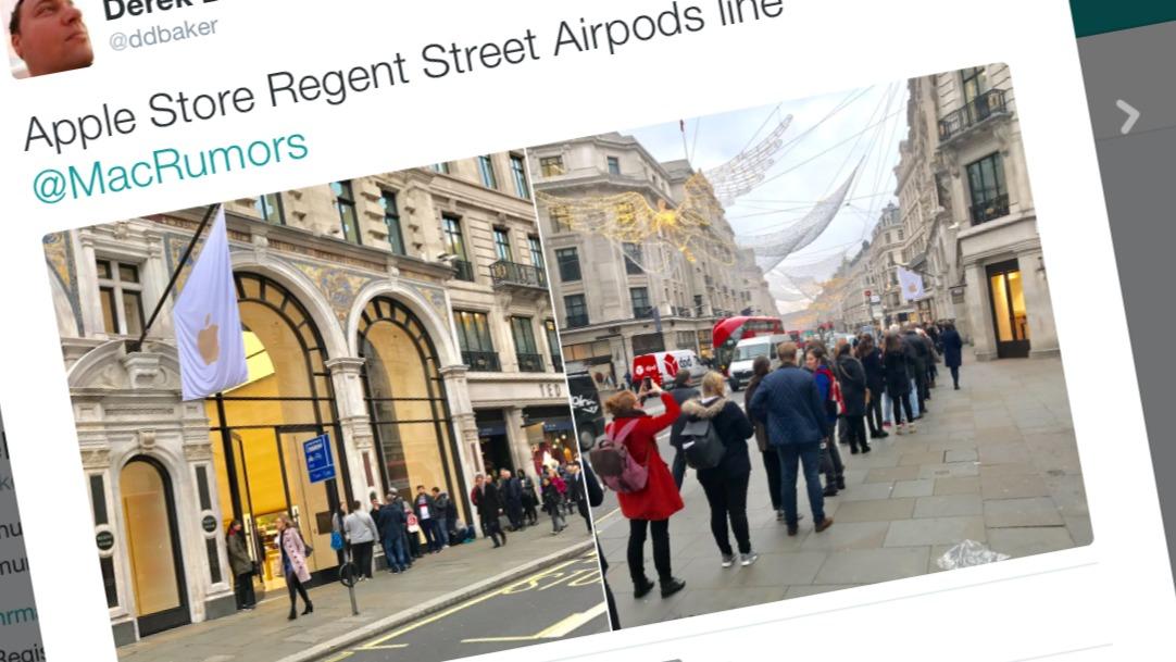 Her står britene i kø for å kjøpe AirPods.