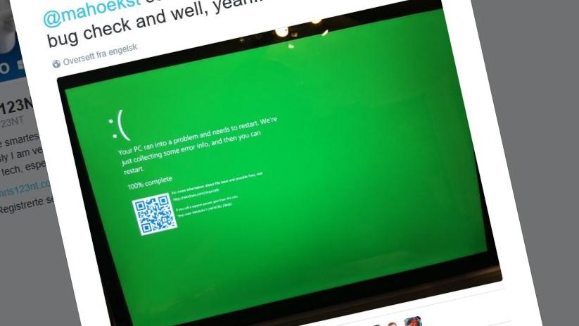 Windows 10-testerne ser nå en grønn feilmeldingsskjerm i stedet for den blå.