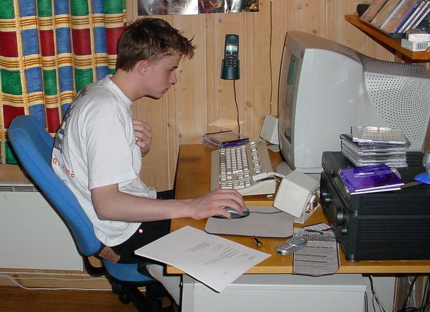 Jeg har egentlig ikke flyttet meg fra skjermen siden den gang - dette må være tidlig 2000 en gang.