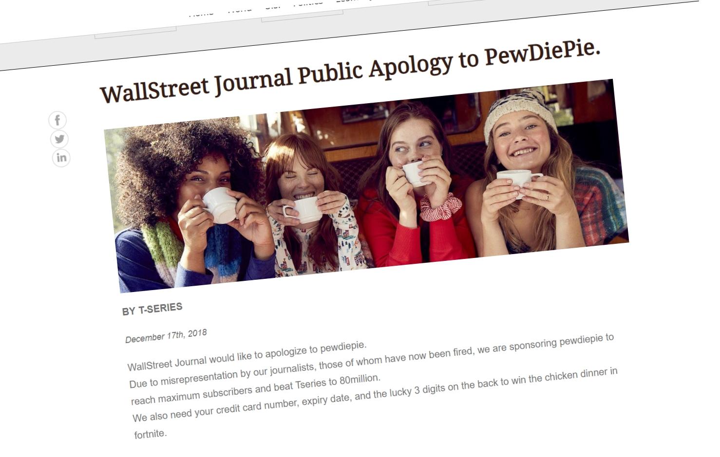 Se hva PewDiePie-fansen gjorde med The Wall Street Journal for å ta hevn