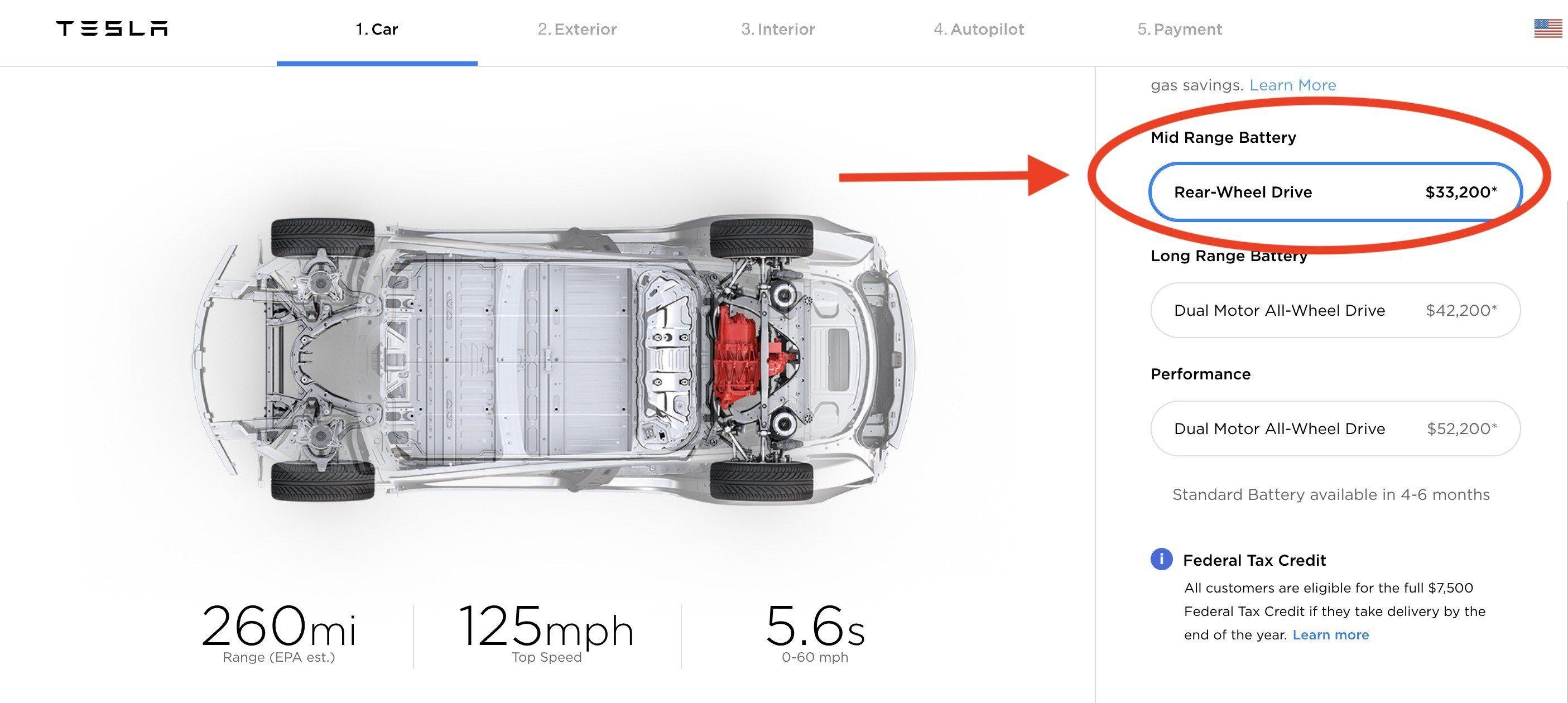 """Om du hadde planer om å kjøpe """"mid-range""""-utgaven av Model 3 så er det for sent, nå er ikke dette valget tilgjengelig lenger."""