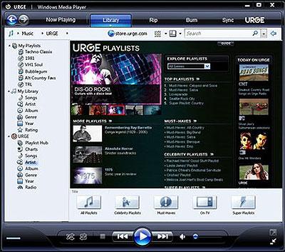 Windows Media Player 11 URGE