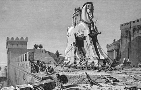 EN TROJANSK HEST: Uttrykket har sin opprinnelse i en krigslist under trojanerkrigen, de greske kongenes krigstog mot byen Troja.  Grekerne lot