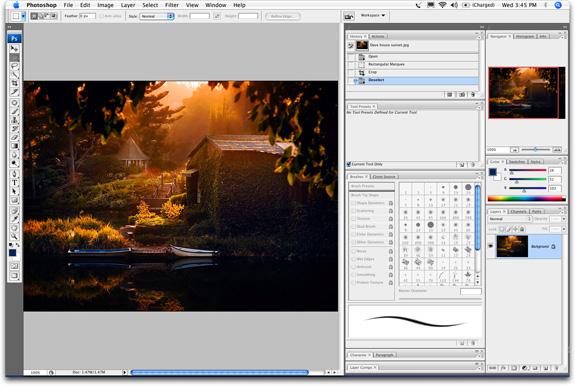 MYE NYTT:Nye paletter og verktøylinja er nå en linje, ikke to, som i alle foregående versjoner av Photoshop.