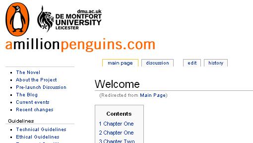 WIKI:  Faksimile fra Wiki-boken «A Million Penguins».