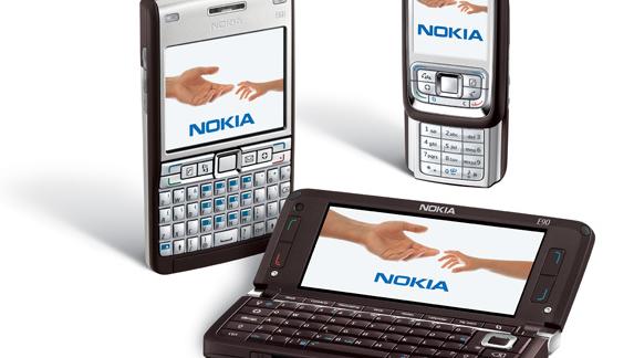 Nokia slipper disse tre smarttelefonene. Fra venstre: E61i, E90 og E65.