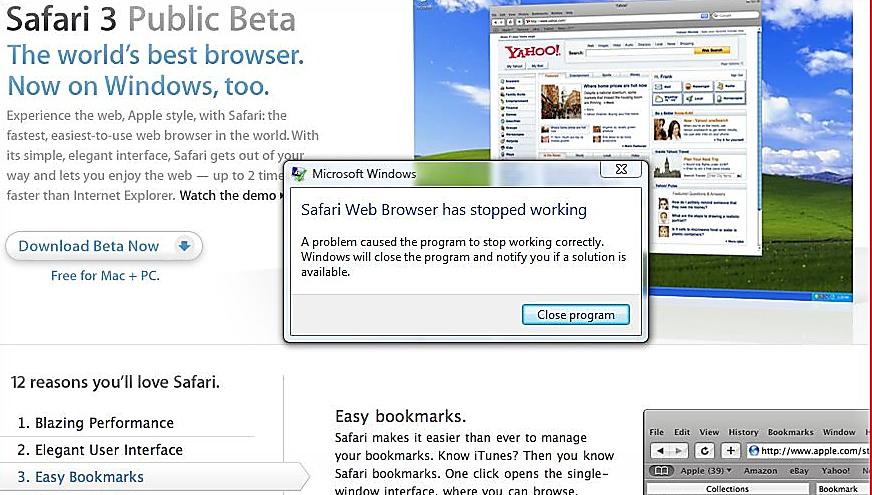 Du trenger ikke være hacker for å få Safari for Windows til å gå ned...