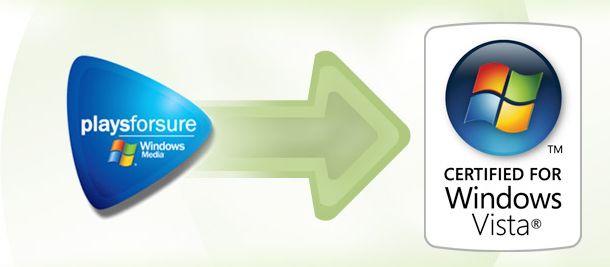 DRM ble til PlaysForSure. Og nå blir PlaysForSure til Certified for Windows Vista...