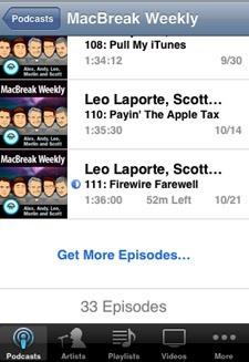 """Her kan man se hvordan man enkelt kan trykke på """"Get More Episodes"""" for å laste ned podcaster direkte til telefonen."""