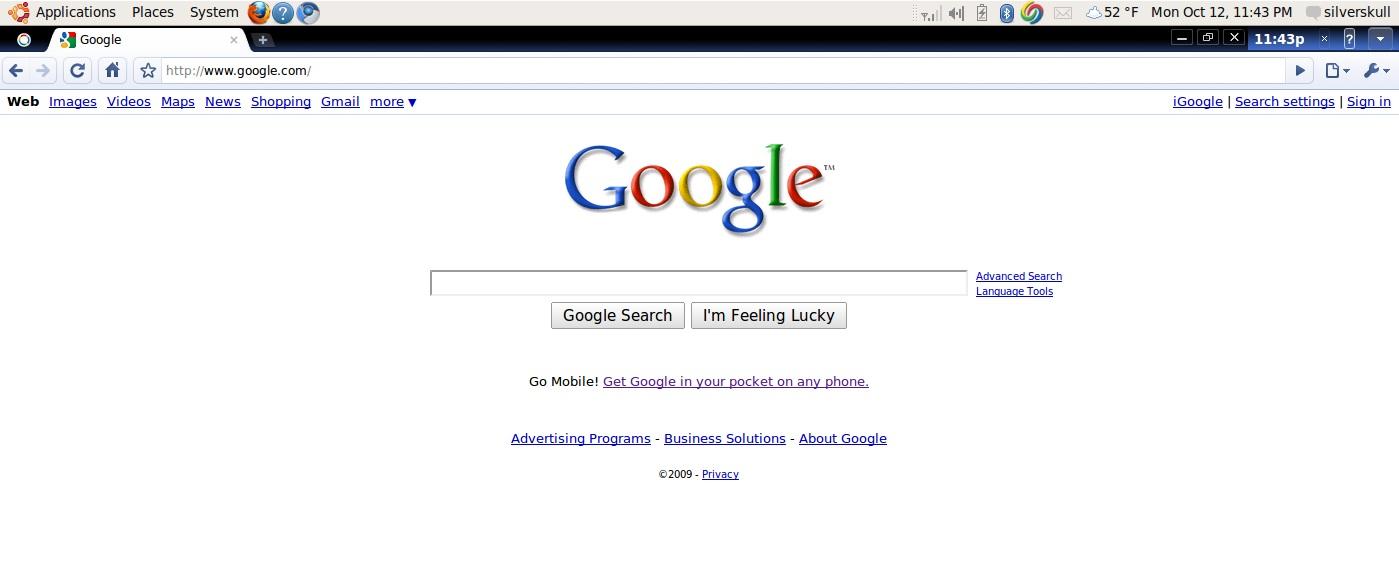 Slik ser altså nettleseren i Chrome OS ut. Legge merke til ny logo oppe til venstre og nettleserens tema.