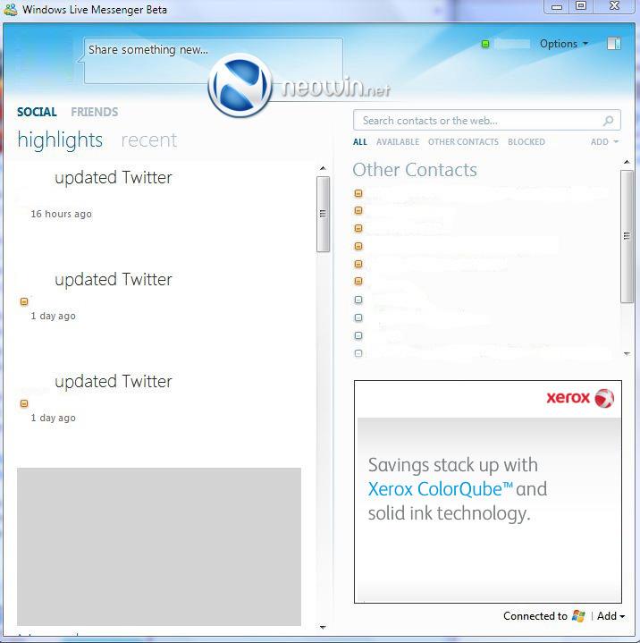 Slik er Messenger 2010s «sosial stream». Denne blir å finne på venstre side av programmet