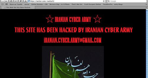 Slik så Twitter.com ut etter at iranske hackere hadde vært på ferde i forrige uke. Nå går mistanken i retning av sjia-aktivister, og dermed myndighetene i Iran.