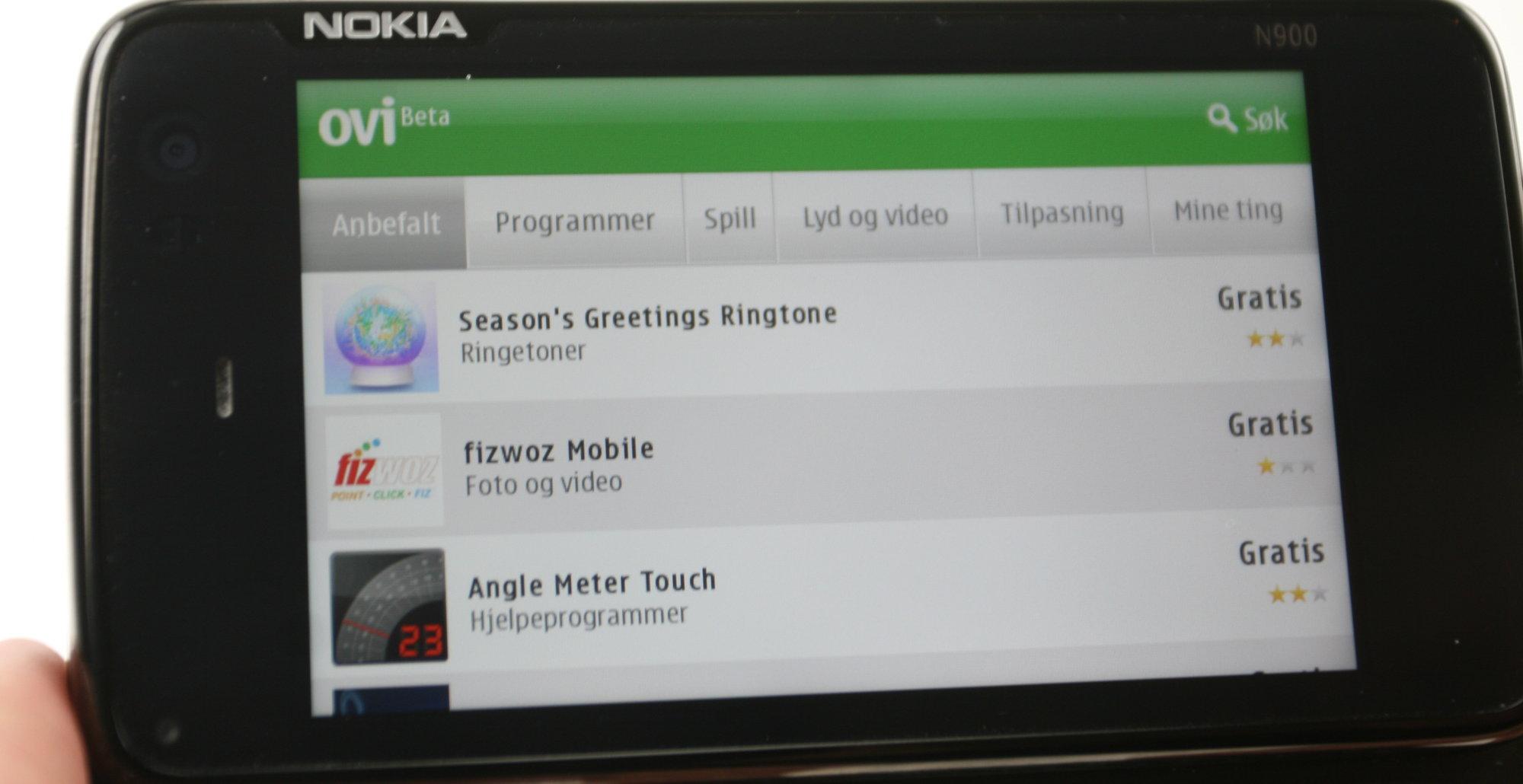 Slik fremstår Ovi Store på N900 i dag