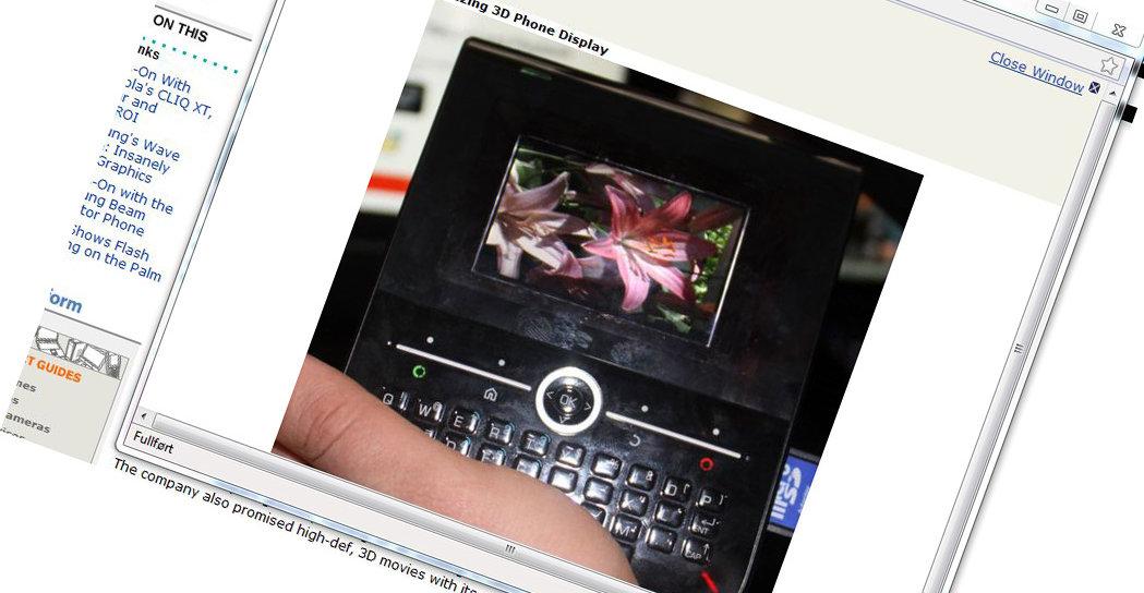 Slik ser TIs nye skejrmløse mobile 3D-skjerm ut.