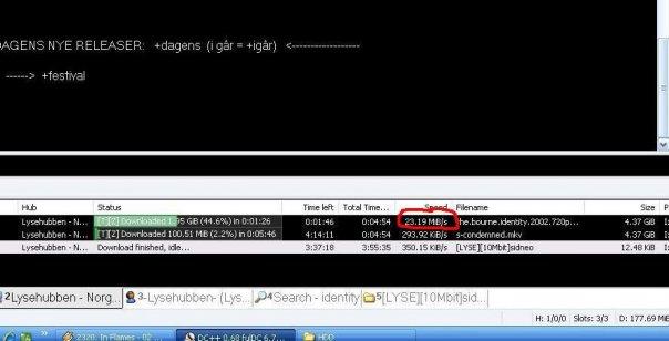 Slik ser det ut når Lyse-kunder piratkopierer film med programvaren Direct Connect.