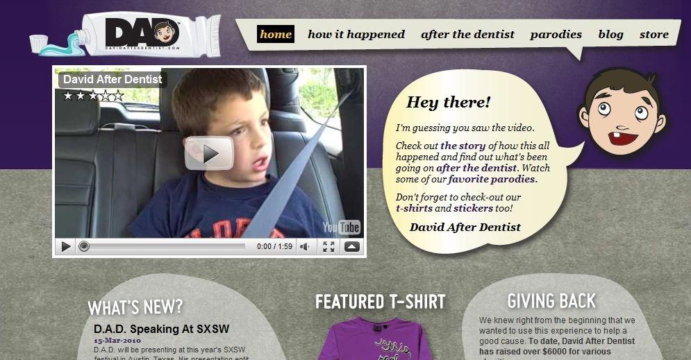 På davidafterdentist.com får du kjøpt alt du vil at «David after the Dentist»-effekter.
