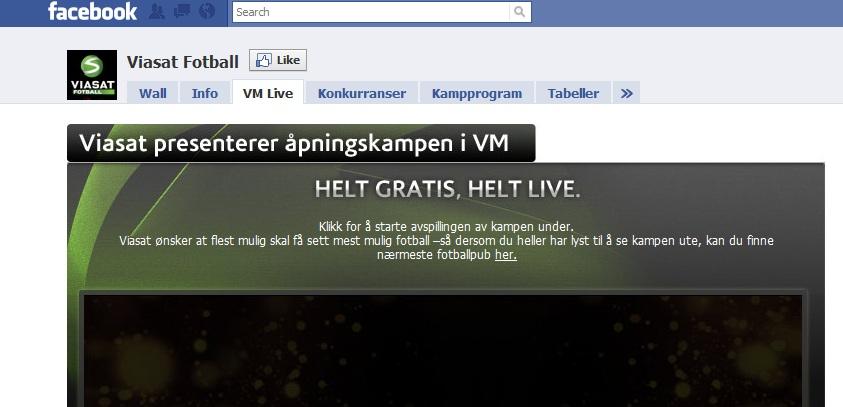Viasat bruker Facebook aktivt som markedsføringsapparat.
