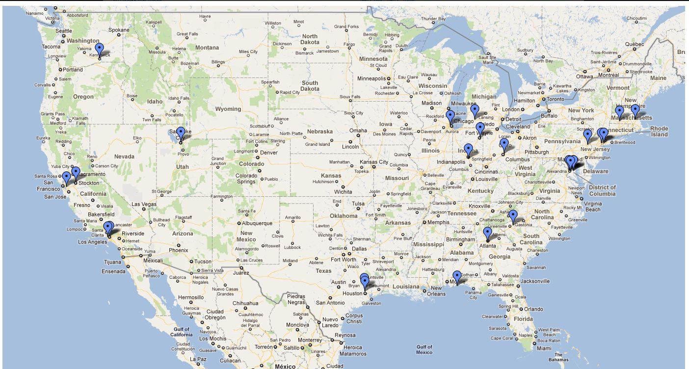 Dette USA-kartet viser HTC-telefoner som Microsoft har kartlagt i USA gjennom sin konkurrent til Google Street View, Streetside. (Ilustrasjon: Declan McCullagh/CNET)