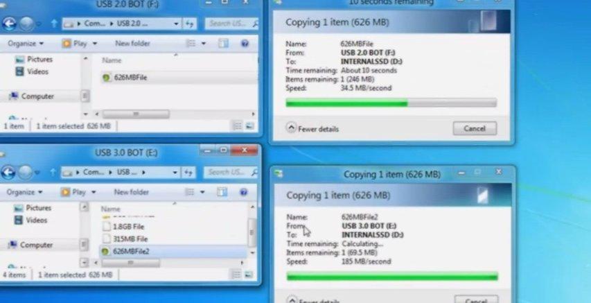 USB 2.0 (øverst) VS USB 3.0 (nederst).