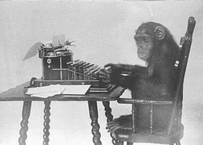 Før eller seinere vil denne sjimpansen skrive Shakespeares samlede verker, gitt at den har et uendelig antall kolleger og uendelig med tid. Men datamaskiner gjør jobben raskere...
