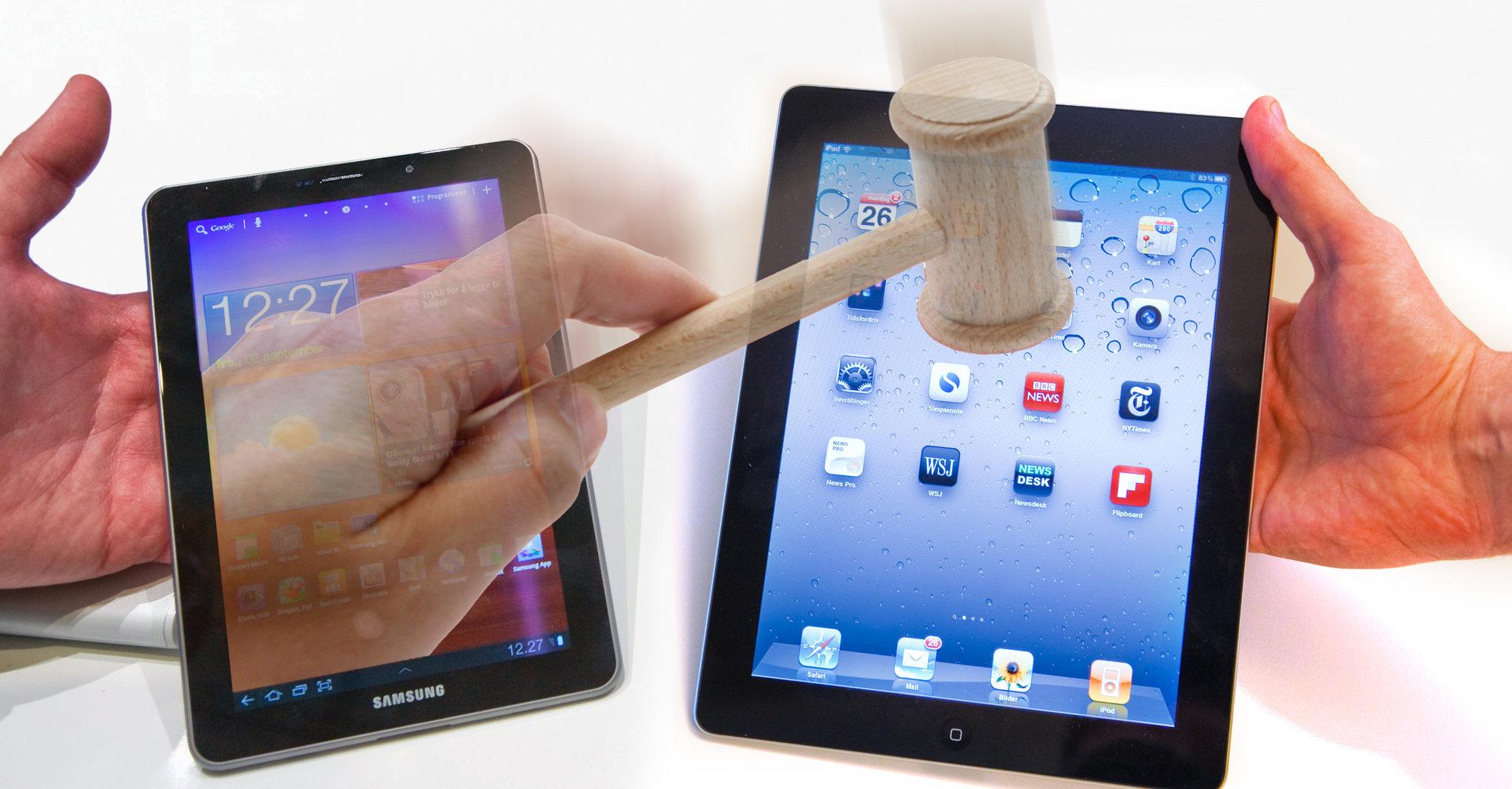 Denne gangen er det Samsung som vil at Apple skal slås med dommerklubba. (Illustrasjon: Per Ervland)