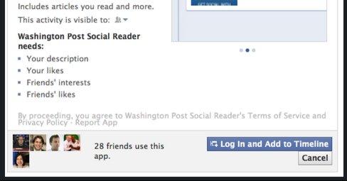 Legger du til en nettside til den nye profilen er standardverdien at den deler alt du leser med alle dine venner.