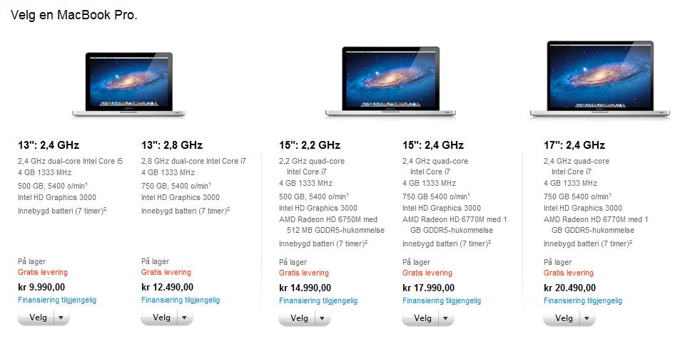Dette er prisene og spesifikasjonene for Apples MacBook Pro-maskiner som ble oppdatert i dag.