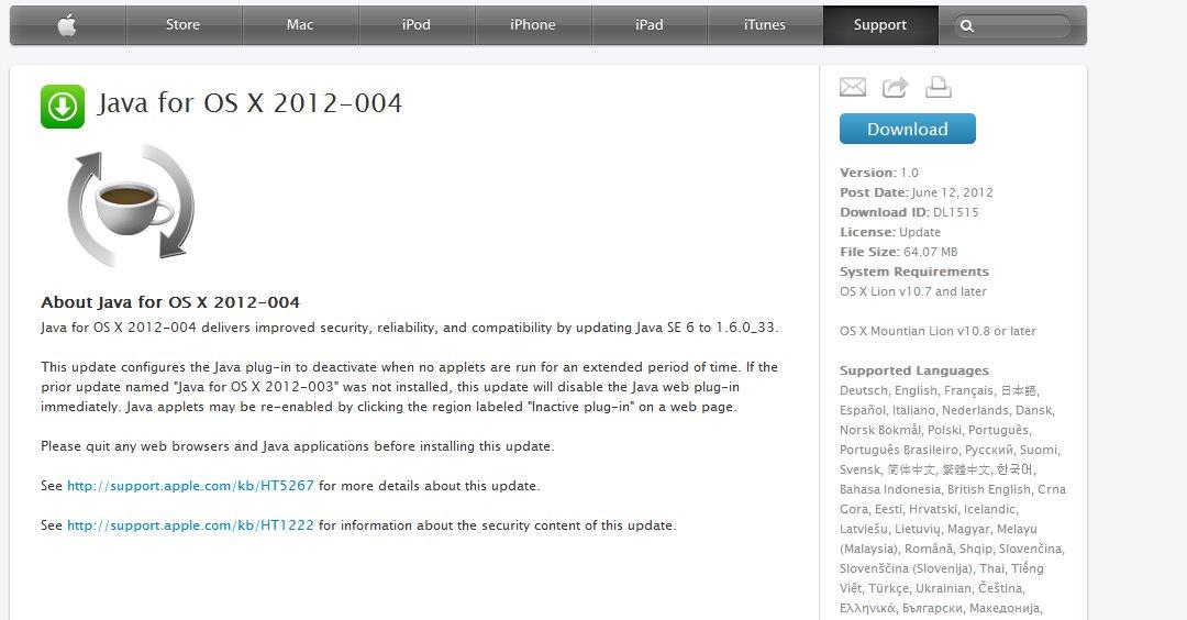 Joda, Apple leverer Java. Det var bare et Google-søk som skulle til.