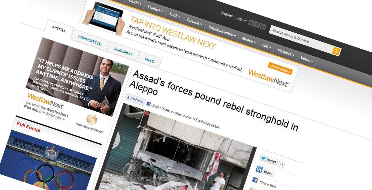 Hackere tok både kontroll over Reuters blogg og deres Twitter-konto i helga. (Saken på bildet er ekte).
